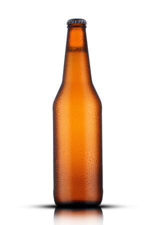 brown bottle with beer and drops on a white background Archivio Fotografico