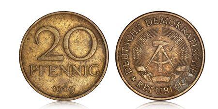 German twenty pfennig from 1969 on a white background Archivio Fotografico
