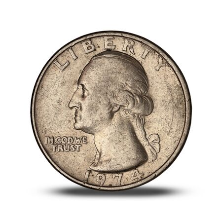 american quarter dollar coin from 1974 on white background