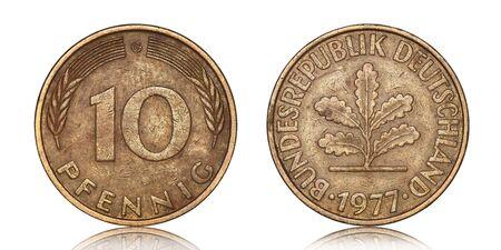German ten pfennig from 1977on a white background