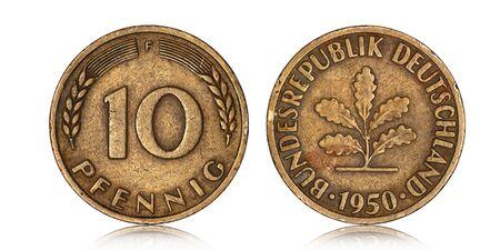 German ten pfennig coin from 1950 on a white background