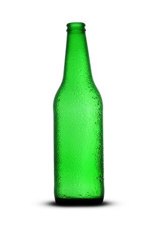 empty green beer bottle on white background