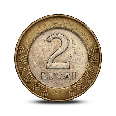 Lithuanian two litai coin of 1999 isolated on white background