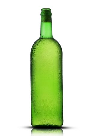 green bottle with wine and drops on a white background