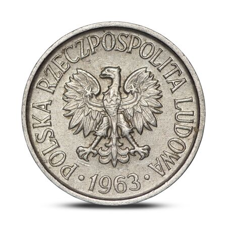Polish five groszy coin from 1963 on a white background Archivio Fotografico