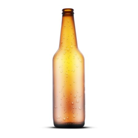 empty brown beer bottle with drops on white background Archivio Fotografico