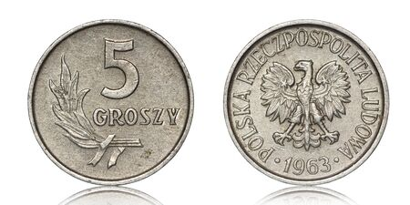 Polish five groszy coin from 1963 on a white background
