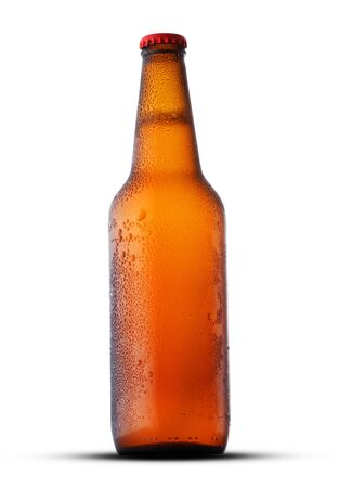 brown full bottle with beer isolated on white background