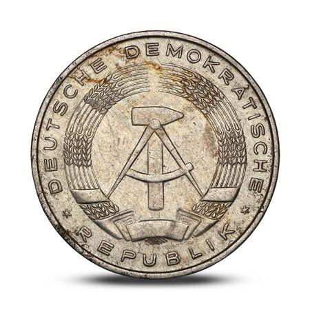 German ten pfennig from 1979 on a white background