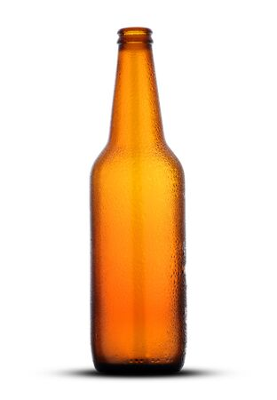 brown empty beer bottle on white background Archivio Fotografico
