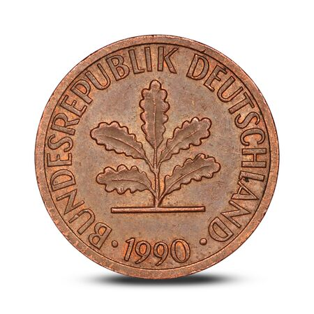 German one pfennig coin from 1990 on a white background