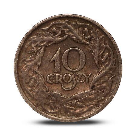Polish interwar coin ten groszy from 1923 on a white background