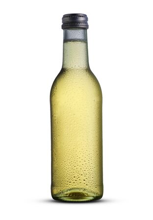 small bottle with alcohol on a white background Archivio Fotografico