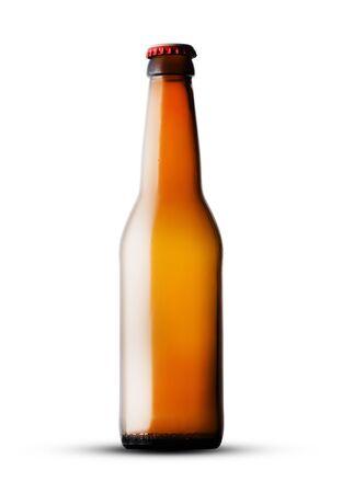 glass empty bottle on white background