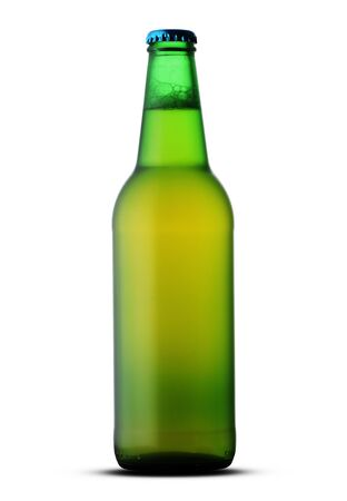 green full bottle with beer on white background
