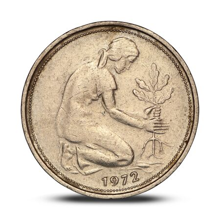 german fifty pfennig coin with a woman planting an oak on a white background