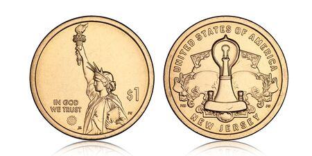American one dollar coin with the statue of liberty on a white background Archivio Fotografico