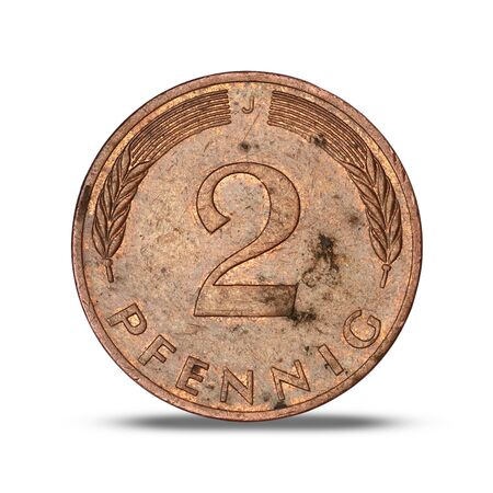 German two pfennig coin from 1978 on a white background Archivio Fotografico