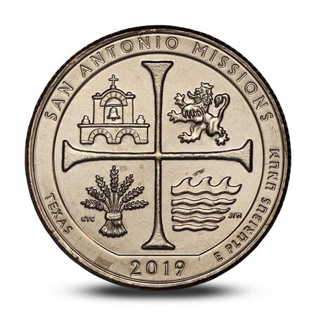 american quarter dollar coin from 2019 on white background Archivio Fotografico