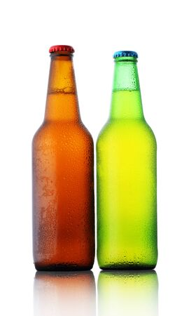 two bottles with beer on white background