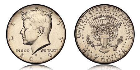 american half dollar coin from 2018 on white background Archivio Fotografico