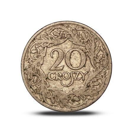 Polish interwar 20 groszy coin with an eagle on a white background Archivio Fotografico
