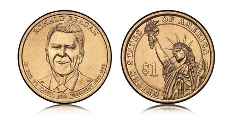 American one dollar coin with Ronald Reagan on white background
