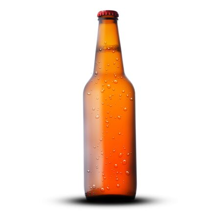 brown full bottle with beer isolated on white background Archivio Fotografico