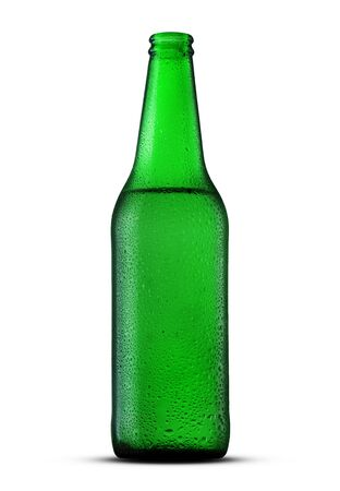 glass bottle with beer on a white background