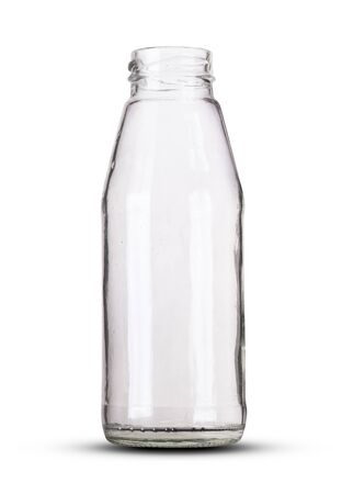 small glass juice bottle on white background