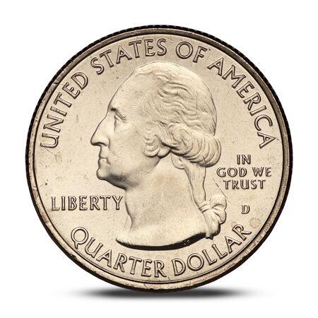 american quarter dollar coin on white