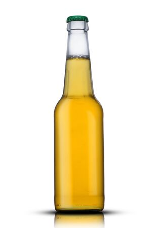 small unopened bottle with beer on a white background