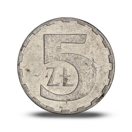 Polish five zloty from 1990 on white background Archivio Fotografico