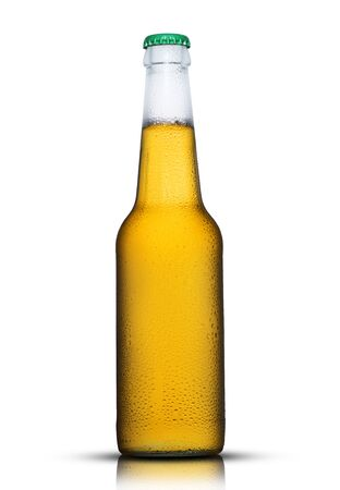 full bottle of beer with drops on a white background