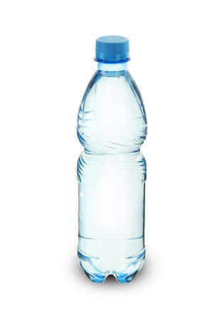 plastic bottle with mineral water on a white background