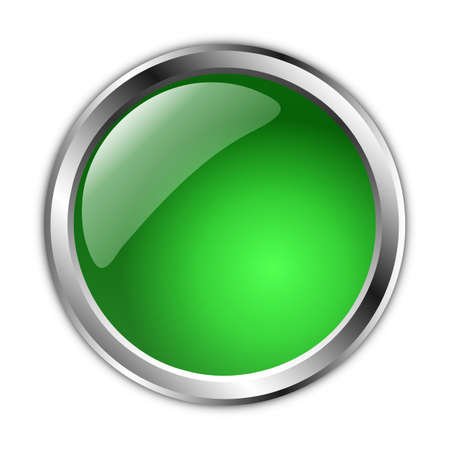 3d illustration green button over white background