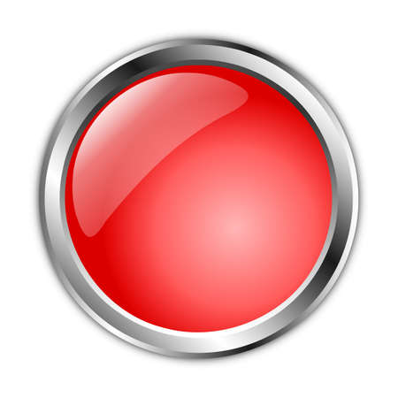 drawing of a 3d red button with a silver border on a white background Stockfoto
