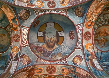 Ancient fresco in Cappadocia photo