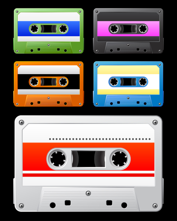 hi fi: Audio cassette with colorful tag.  illustration