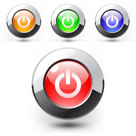 Red button. Steel and shine  Vector