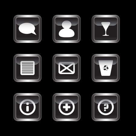 Miscellaneous dark icons set  Stock Vector - 7123508