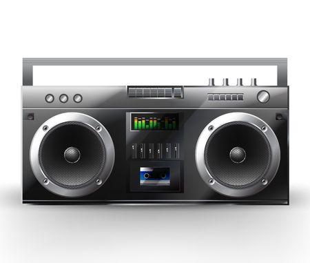 radio button: Sistema stereo. illustrazione di un centro di musica. Boombox  Vettoriali