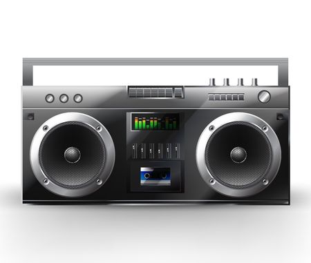 Stereo-System.  Illustration eines Musik-Center. Boombox