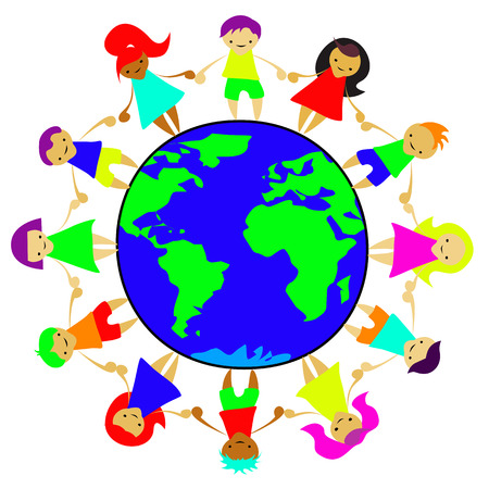mutual assistance: children of the world standing on the planet holding hands