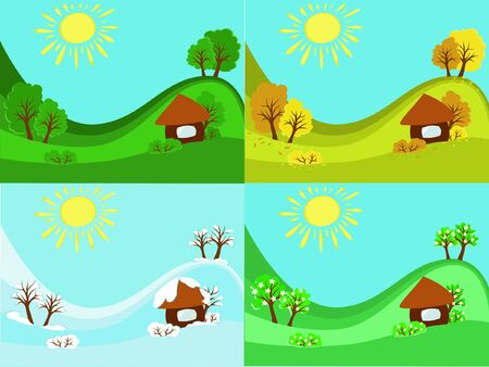 opposed: 4 seasons winter, spring, summer, autumn in one picture