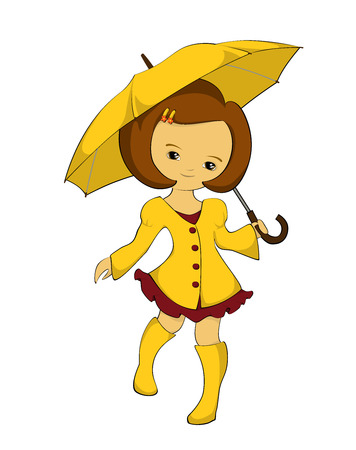 yellow umbrella: Girl in a yellow raincoat, yellow boots with yellow umbrella Illustration