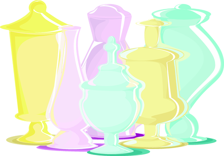 Many multi-colored bottles of different shapes: blue, yellow, pink. Illustration