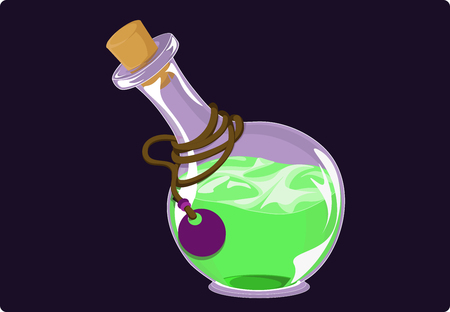 Green liquid in a round flask with a stopper against a dark background