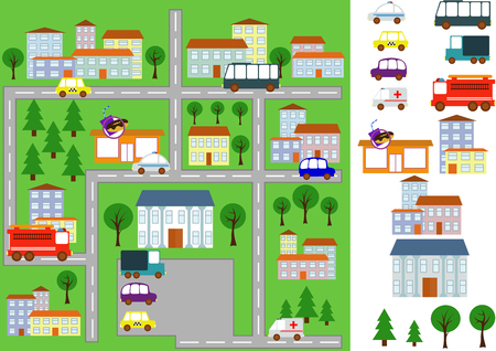 map of the city. individual elements, machines, houses. Vector  イラスト・ベクター素材