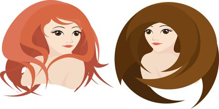 girl with red curly hair and a girl with a brown straight hair, vector Imagens
